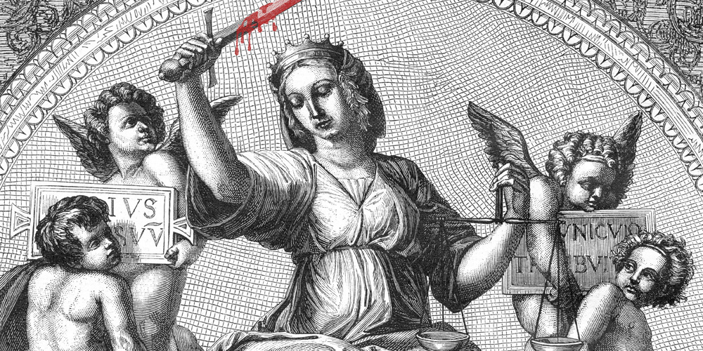 Justice, fresco by Raphael in the Vatican, vintage engraved illustration.