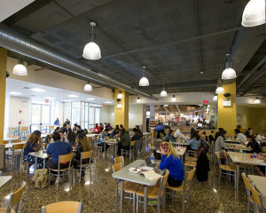 Students eating and studying in Hudson Heights.