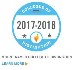 "College of Distinction logo and text saying ""Mount named college of distinction"" and link to ""learn more"""