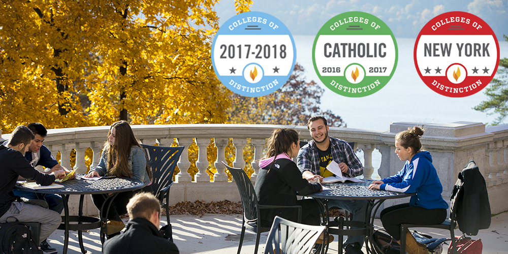 Students sit at tables on the Seton Veranda. College of Distinction logos overlaid on the photograph.