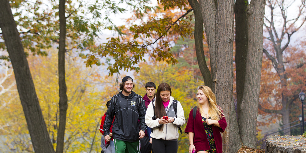 Students walking, smiling, and talking on campus on a fall day.