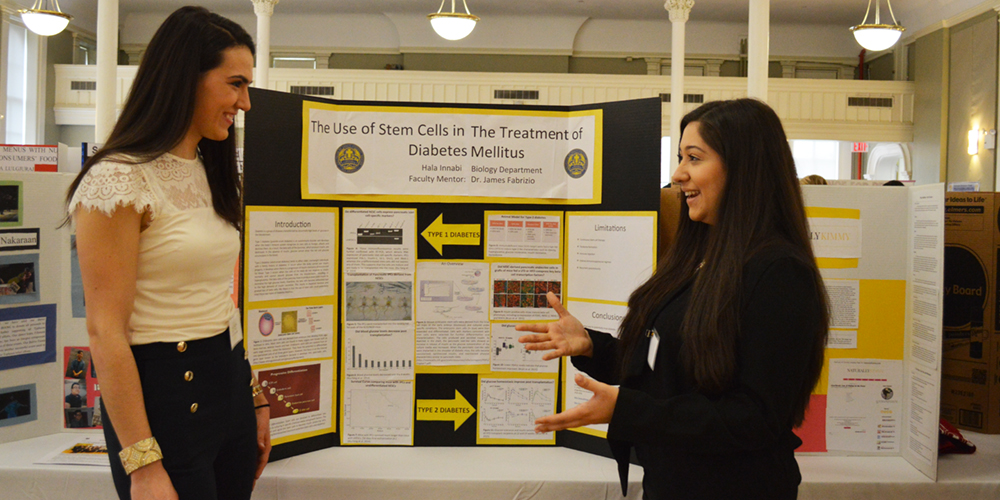 Students discuss a research poster at the Student Research and Service Symposium