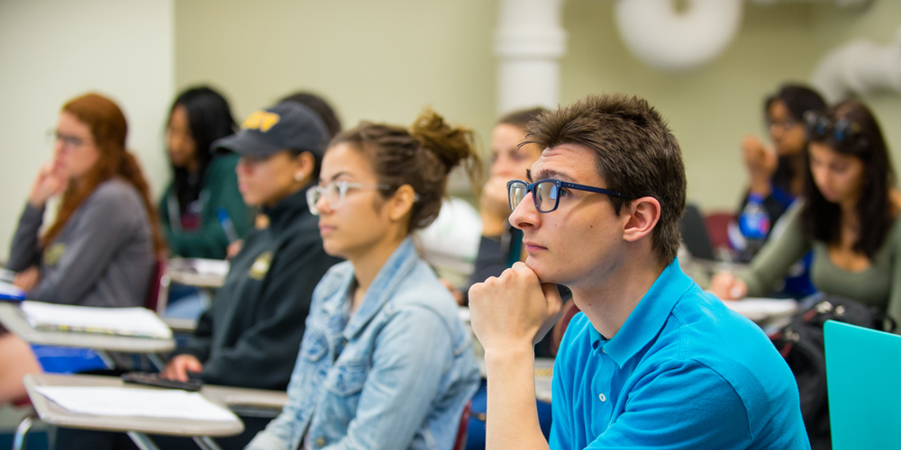 Students look attentively in class from profile.