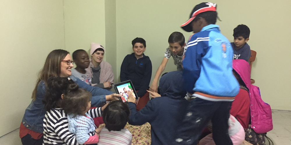 Mount student with refugee children