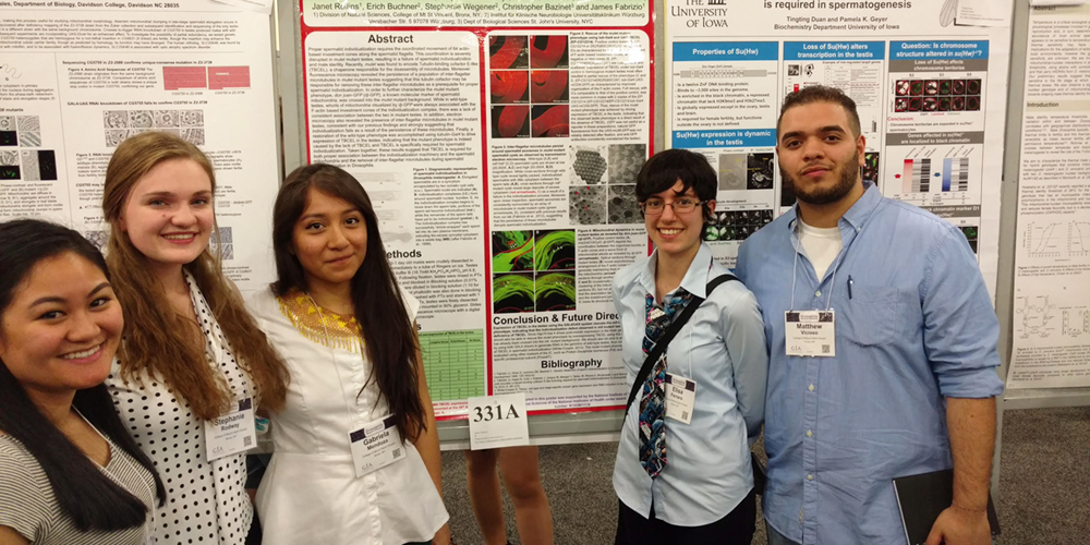 Students pose with their research posters in San Diego