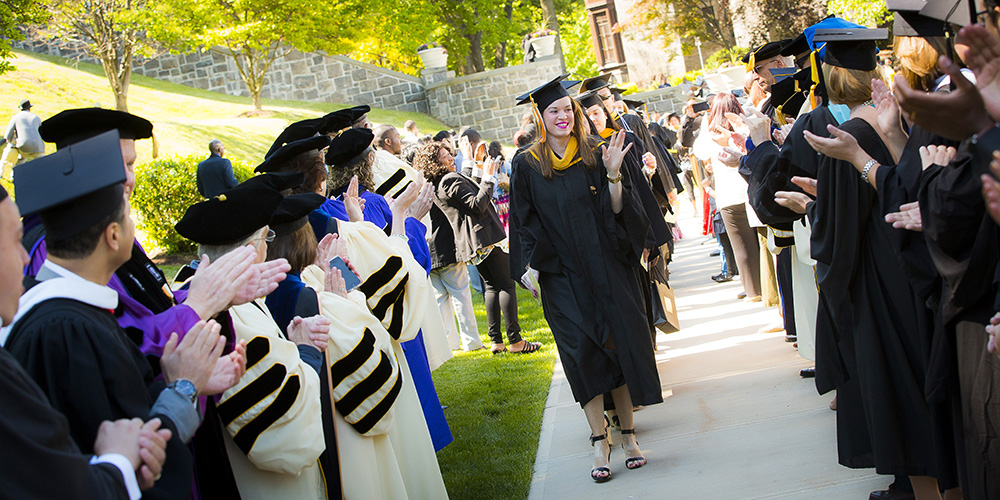 Students walking during the Commencement ceremony