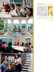 Honors Program Newsletter Fall 2016 - cover featuring collage of classroom photos and college shots