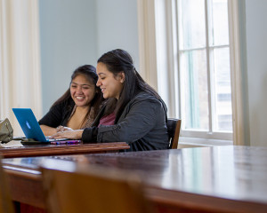Students studying in the Blue Room