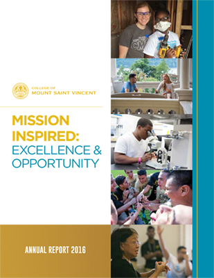 Graphic: front cover of the College of Mount Saint Vincent's 2016 Annual Report