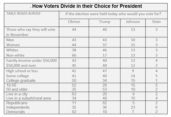 "Graphic titled: ""How voters divide in their choice for President?"""