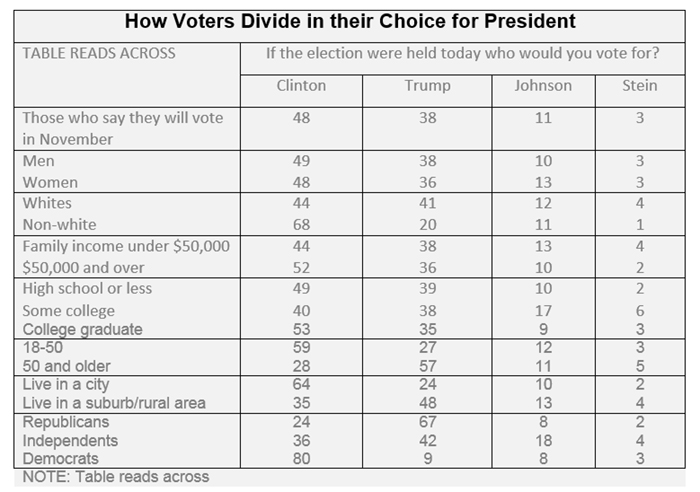 "Graphic titled: ""How Voters Divide in their Choice for President"""