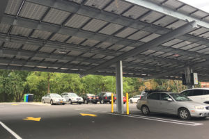 View of the solar canopies in Villa lot.