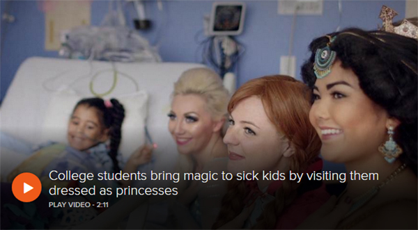 A Moment of Magic princesses smile with a sick child on the Today Show.