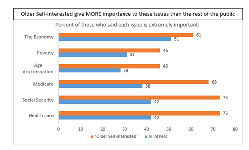 "Graphic titled ""Older self-interested give more importance to these issues than the rest of the public"""