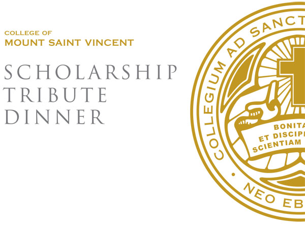 "Image that features half of the CMSV seal, ""College of Mount Saint Vincent Scholarship Tribute Dinner"""