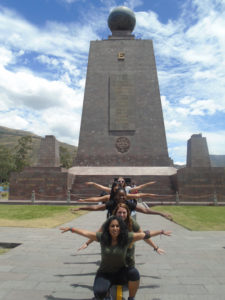 "Llocasta ""Jojo"" Duran '20 poses with her friends at Mitad del Mundo (""Middle of the World"")."