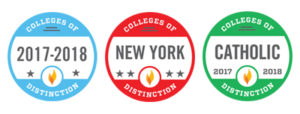 Colleges of Distinction Badges featuring the distinction for colleges of distinction in New York and Catholic colleges for 2017-2018