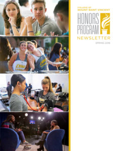 Front cover of the Spring 2018 Honors Program newsletter - collage of photos of students in classrooms and having fun on campus.