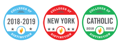 Colleges of Distinction Badges for 2018-2019, New York, and Catholic colleges.