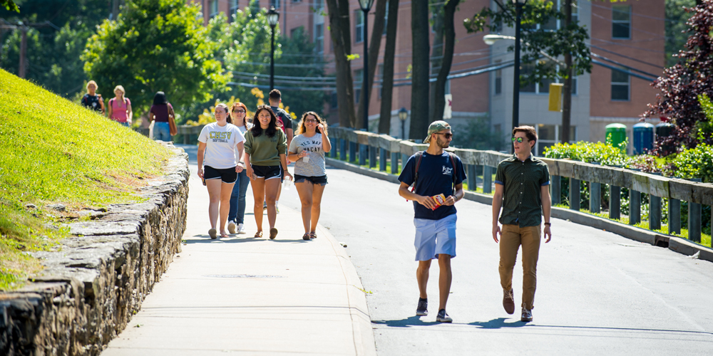 Students walking down a hill on campus.