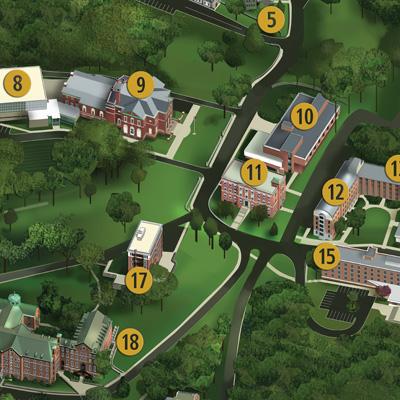 Mini version of the campus map.