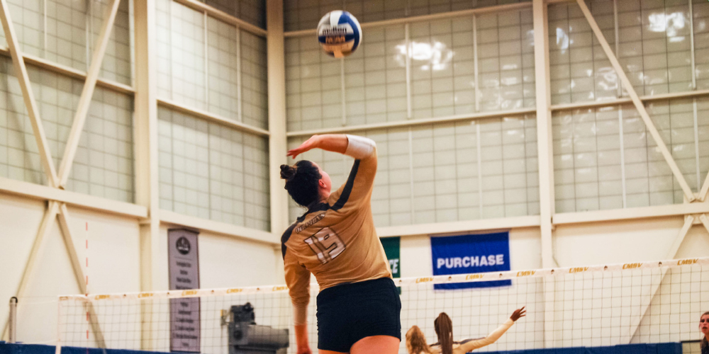 Patsy Sewell hits a volleyball on the court.