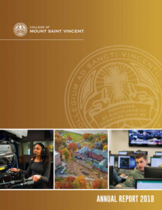 Annual Report 2018 Cover featuring a collage of three photos and the College seal.