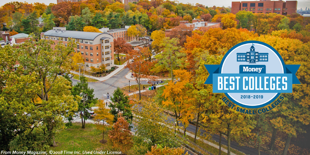 Aerial view of the Riverdale campus with fall foliage.
