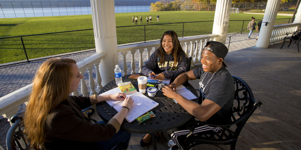 Students smiling while studying on the Marillac porch with the athletic field and the Hudson River in the background.