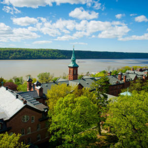 View of the Hudson River and the Bell Tower on a sunny day.