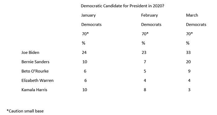 """Graphic titled: """"Democratic Candidate for President 2020?"""""""