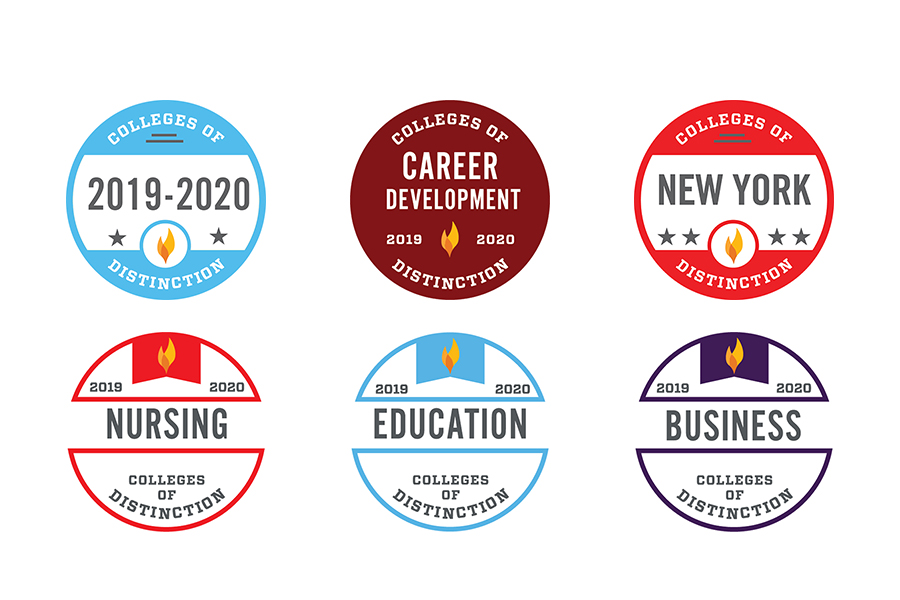 Colleges of Distinction Badges for 2019-2020, New York, and Catholic colleges.