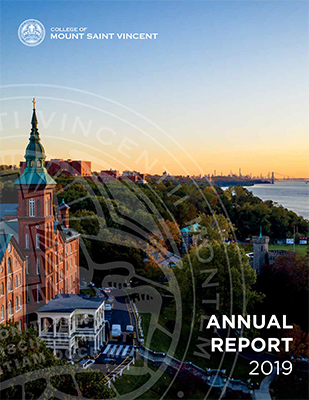 Annual Report 2019 cover featuring an aerial view of the College of Mount Saint Vincent and the Hudson River.