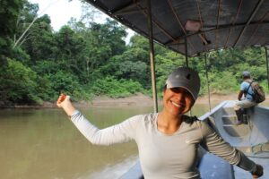 Jennifer Puac on the Amazon River.