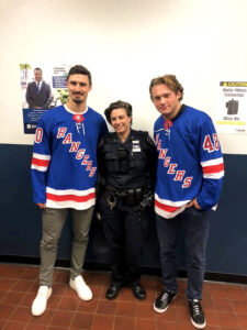 Blair poses with the Rangers.