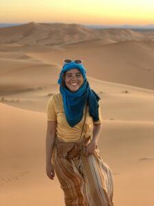 Genesis Torres '20 in the Sahara Desert.