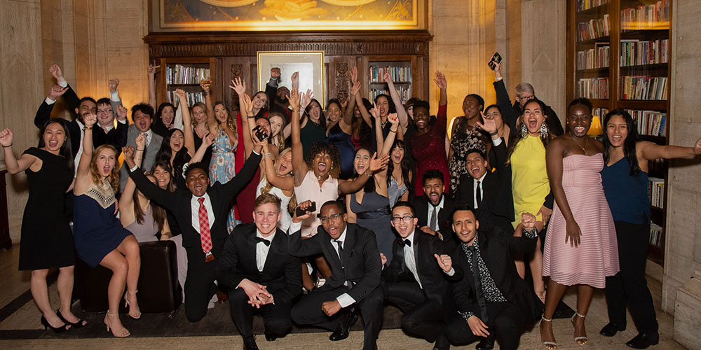 Group of students who attended the 2019 Scholarship Tribute Dinner pose at Cipriani.