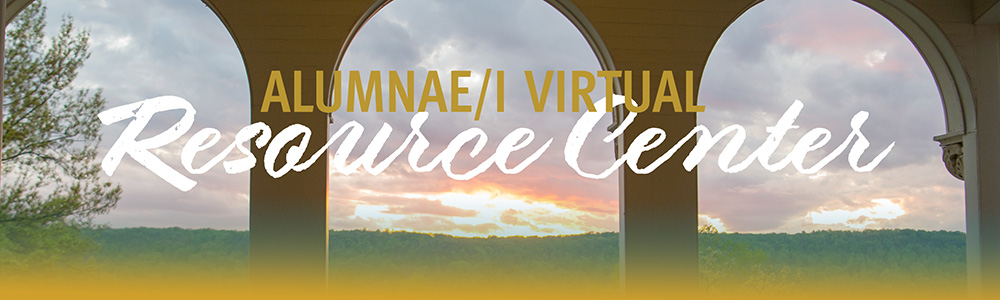 "Header saying ""Alumnae/i Virtual Resources"""