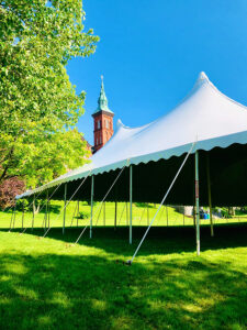 View of the Commencement tent and Founders Hall.
