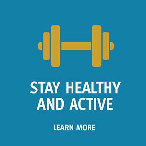 """Button saying """"Stay Healthy and Active"""""""