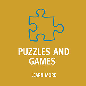 "Button saying ""Puzzles and Games. Learn more"""