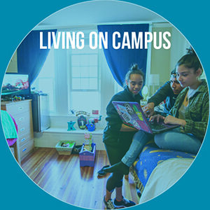 "Button saying ""Living on campus"""