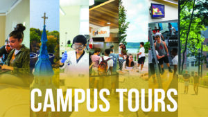 "Image collage saying ""Campus Tours"""