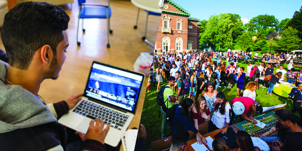 Image featuring a student on a computer and overview of students in front of Hayes Auditorium.