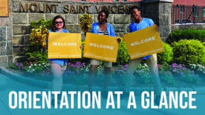 "Image of three Orientation Leaders smiling and ""Orientation at a glance"" is overlaid."