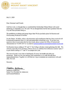 Image of a letter announcing the cancellation of the 2020 Scholarship Tribute Dinner.