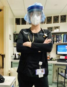 Stephanie W in her nurse outfit.