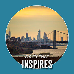 "Button saying ""City that inspires"""