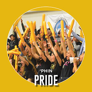 "Button saying ""Phin Pride"""