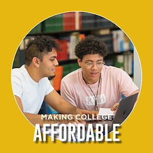 "Button saying ""Making college affordable"""